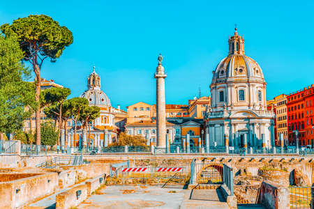 Beautiful landscape of the in Rome- one of the oldest and most beautiful cities in the world. View on the Roma Antica, Trajan's Column , Church SS Name of Maria.