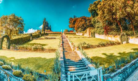 Beautiful landscape panorama on historical view Gardens of Bardini (Giardino Bardini) and Boboli Gardens( Giardino di Boboli). Italy. Stock Photo