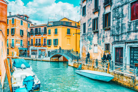 VENICE, ITALY - MAY 11, 2017 : Views of the most beautiful channels of Venice, narrow streets, houses.Italy.