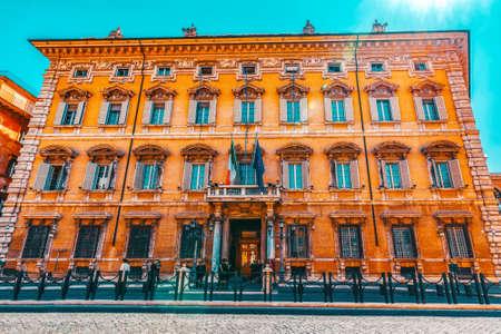 ROME, ITALY- MAY 09, 2017: Beautiful landscape of Madama Palace (Palazzo madama). Palazzo Madama in Rome is the seat of the Senate of the Italian Republic. Italy. Sajtókép