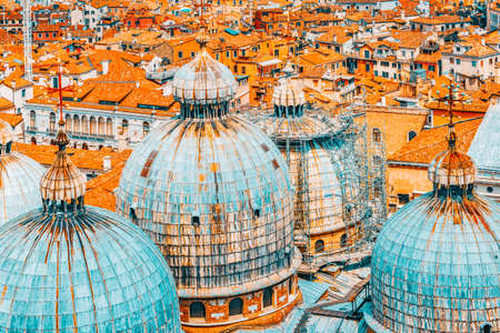 Panoramic view of Venice from the Campanile tower of St. Mark's Cathedral (Campanile di San Marco) - the Cathedral of Saint Mark (Basilica di San Marco) .Italy. Stock Photo