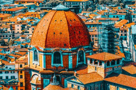 Beautiful landscape above urban and historical view of the Florence from Giotto's Belltower (Campanile di Giotto) .The Medici Chapel (Cappelle Medicee) .Italy.