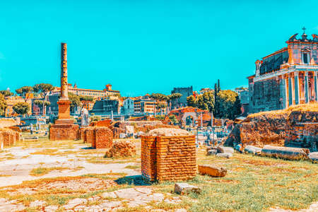 Archaeological and historical objects in Rome, united by the name - Roman Forum and Palatine Hill. Temple of the Divine Julia(Tempio del Divo Giulio). Archivio Fotografico