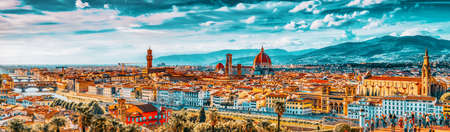 FLORENCE, ITALY - MAY 13, 2017 : Beautiful landscape above, panorama on historical view of the Florence from Piazzale Michelangelo point .Italy.