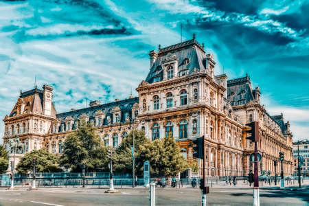 PARIS, FRANCE - JULY 08, 2016 : Hotel de Ville in Paris, is the building housing city's local administration,it has been the headquarters of the municipality  since 1357. France. Sajtókép