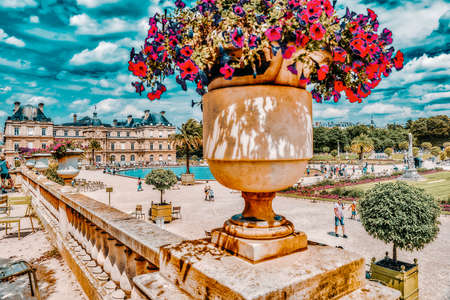 PARIS, FRANCE - JULY 08, 2016 : Luxembourg Palace and park in Paris, the Jardin du Luxembourg, one of the most beautiful gardens in Paris. France. Sajtókép