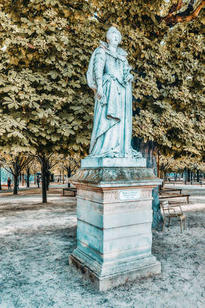 PARIS, FRANCE - JULY 08, 2016 : Statue of Marie De Medicis in Luxembourg park in Paris, one of the most beautiful gardens in Paris. France.