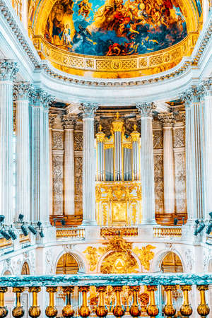 VERSAILLES, FRANCE - JULY 02, 2016:  Famous Royal Chapel inside Versailles Palace. Versailles was a Royal Chateau-most beautiful palace in France and word.