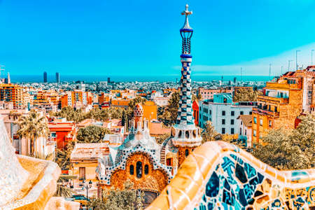 BARCELONA, SPAIN - SEPT 02,2014 :Gorgeous and amazing Park Guel in Barcelona. In 1984 park has been declared UNESCO by the World heritage of mankind. Park Guell (1914) is the famous architectural town art designed by Antoni Gaudi. Event September 02, 2014 Editorial