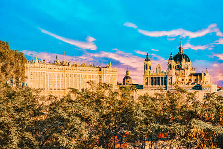 Panorama view on Royal Palace (Palacio Real) in the capital of Spain - beautiful city Madrid from a bird's eye view. Spain.