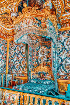 FONTAINEBLEAU, FRANCE - JULY 09, 2016 : Fontainebleau Palace interiors. The Empress Chamber. Chateau was one of the main palaces of French kings.
