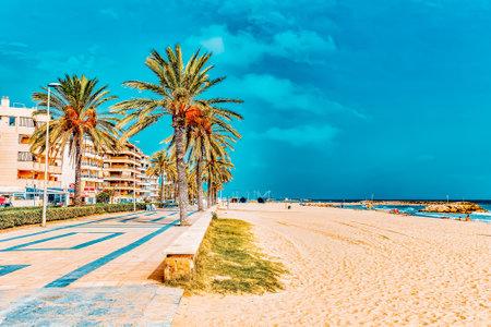 Seafront, beach,coast in Spain. Suburb of Barcelona, Catalonia Foto de archivo