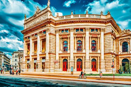 VIENNA,AUSTRIA-SEPTEMBER 10, 2015: Burgtheater (Imperial Court Theatre), originally known as K.K. Theater an der Burg,Vienna. Austria. Sajtókép