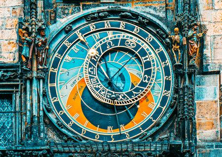 Fragment of astronomica clock on Staromestska Square, Prague, Czech Republic