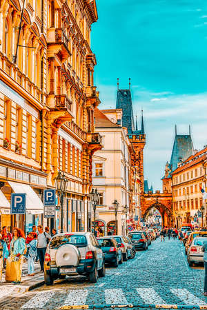 PRAGUE, CZECH REPUBLIC-SEPTEMBER 5, 2015: Quarters and streets with people on Prague's Mala Strana(Lesser Town of Prague). District of the city of Prague, Czech Republic, and one of its most historic regions. Czech Republic.