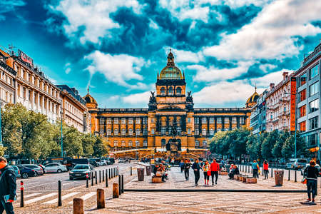 PRAGUE, CZECH REPUBLIC-SEPTEMBER 12, 2015: Main building of the National Museum in Prague.Czech Republic. National Museum houses almost 14 million items from the area of natural history and arts.