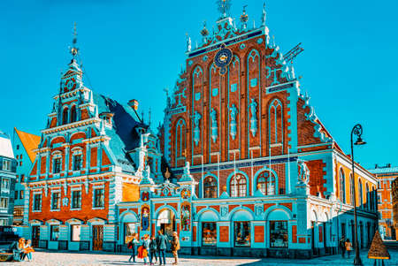 Riga, Latvia - April 13, 2018: House of Blackheads (Melngalvju nams) is a monument of architecture of the XIV century, one of the main sights of Riga. Located on the Town Hall Square. Editoriali