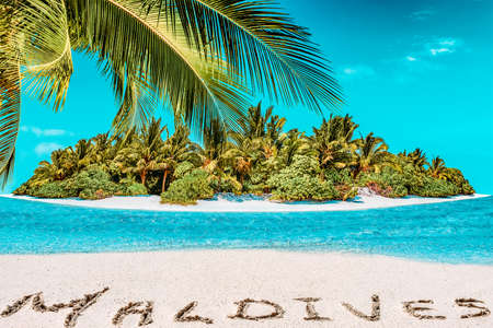 Whole tropical island within atoll in tropical Ocean. Uninhabited and wild subtropical isle with palm trees. Inscription