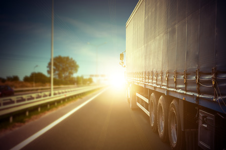 shipment: truck on a highway Stock Photo