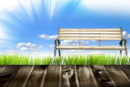 bench isolated over white background photo