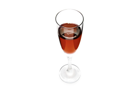 syrah: Glass of red wine on a white background