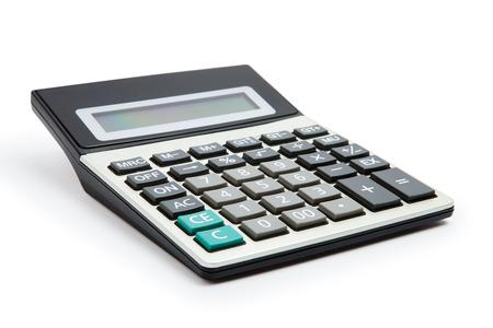 calculadora: calculadora en un fondo blanco Foto de archivo