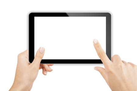 tablet computer isolated in a hand on the white backgrounds 스톡 콘텐츠