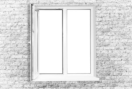White plastic window isolated on white background photo
