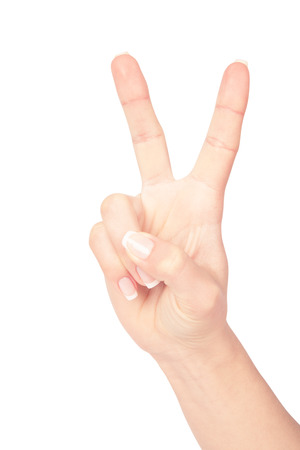non verbal: isolated hand on a white background Stock Photo