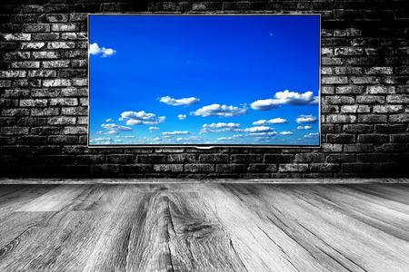 black lcd tv screen photo