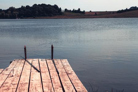 wooden bridge: wooden bridge, the river