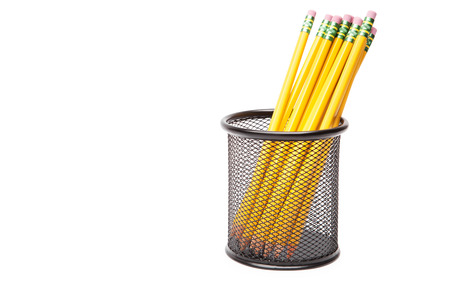 supplies: lead pencils in metal pot on a white background Stock Photo