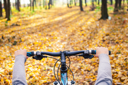 handlebars: Mountain biking down hill descending fast on bicycle