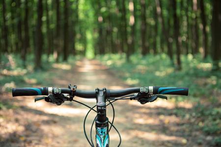 Ciclismo de montaña cuesta abajo descendiendo rápidamente en la bicicleta. Vista desde ojos de los ciclistas. Foto de archivo - 37746616