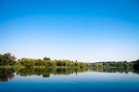 美しい森と川 写真素材