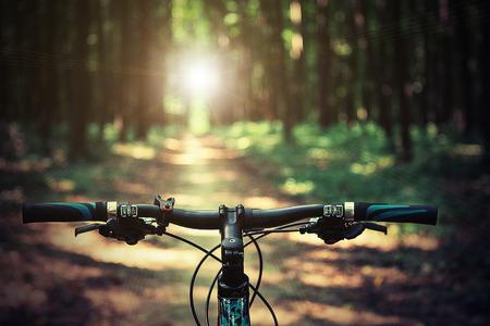 bicyclette: VTT descente d�croissant rapide � v�lo. Vue de motards yeux.