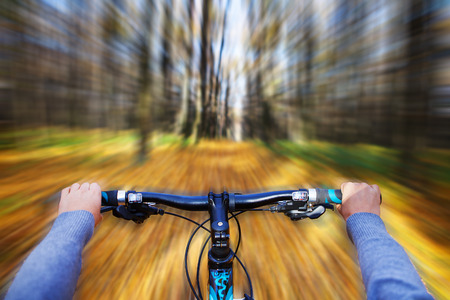 extreme angle: Mountain biking down hill descending fast on bicycle. View from bikers eyes.