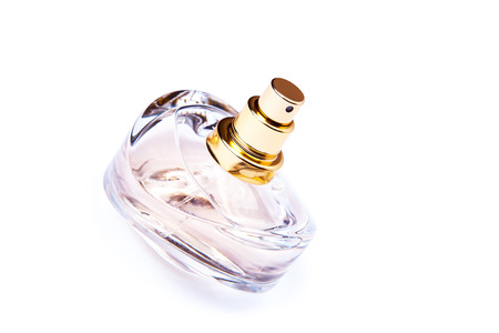 limpid: Bottle of perfume isolated on a white background Stock Photo