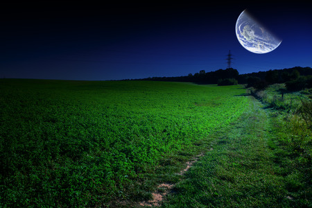 fool moon: Green Field and Beautiful Sunset