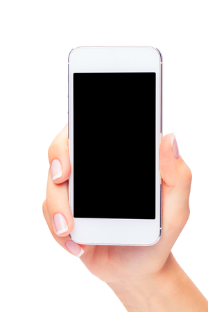 Hand holding White Smartphone with blank screen on white background Reklamní fotografie - 44705775