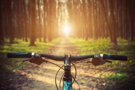 Ciclismo de montaña cuesta abajo descendiendo rápidamente en la bicicleta. Vista desde ojos de los ciclistas. Foto de archivo - 44862952