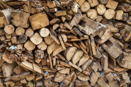 sectional: sectional drawing stack of firewood - wooden abstract background Stock Photo