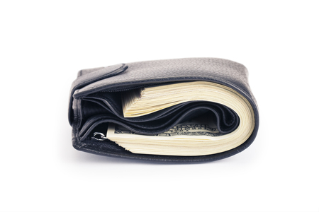 pack of dollars: One black purse with the big pack of dollars