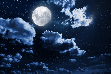 moon surface: Night sky with stars and moon Stock Photo