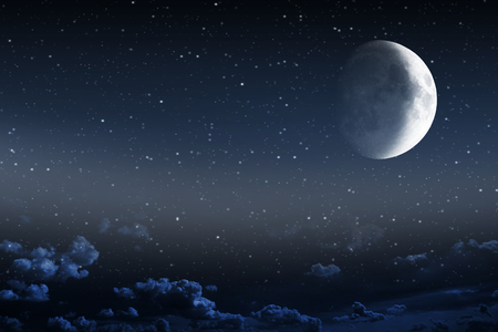 moon surface: Night sky with stars and full moon background