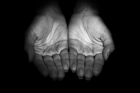 womans hands: Womans hands on black background