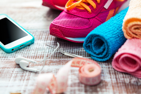 objects equipment: Fitness equipment and healthy nutrition