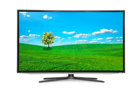 hdtv: 4k monitor isolated on white Stock Photo