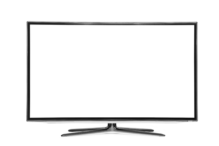 screen tv: 4k monitor isolated on white Stock Photo