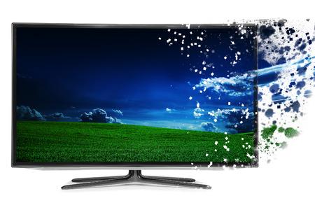 disintegration: 4k monitor disintegration isolated on white Stock Photo